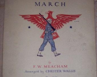 American Patrol March by F.W. Meacham 1941 Vintage Piano Sheet Music