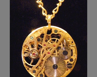 Steampunk Brass Pocket Watch Clockworks Necklace Clock Steam Punk