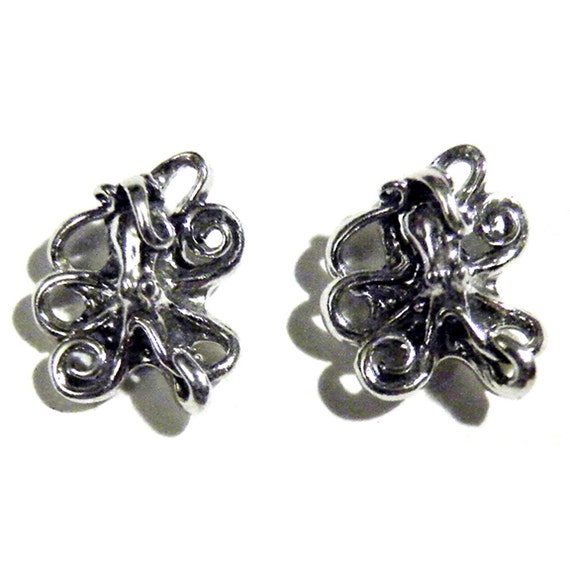 Steampunk Sterling SIlver Octopus Cthulhu Tentacle Squid Earrings Post or Dangle