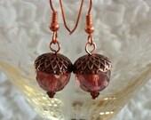 Acorn Earrings (Copper & Raspberry) >> Fall Earrings, Autumn Earrings, Squirrel Earrings, Festive Holiday Earrings, Thanksgiving Earrings