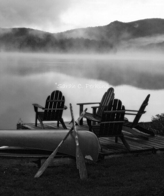 Adirondack Photography-Foggy Lake-B&W Vertical Photo-Fine Art Print-Foggy Mountains-8x10/11x14/16x20/20x24-Misty Lake-Silhouette-Canoe-Oars