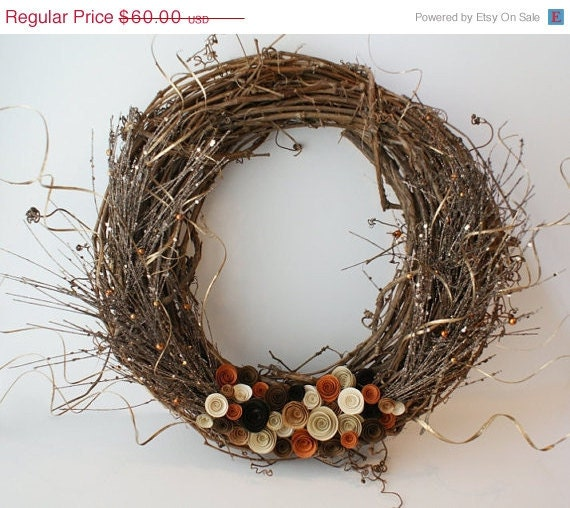 Sale Autumn Wreath - 18 inch Natural Grapevine - Warm Tones