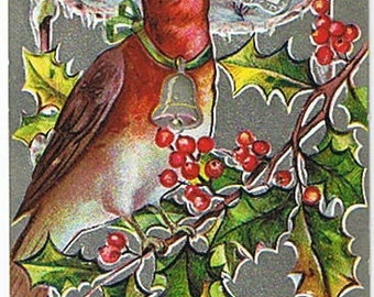 Vintage Postcard: Embossed New Year Card with Silver Foil and Bird