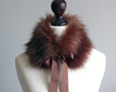 Chocolate brown collar from soft faux fur
