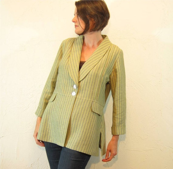 Linen Blend Jacket with Shawl Collar - Sage Multi Stripe with Pintucks