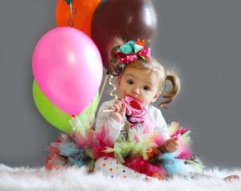Birthday Owl Boutique Style Hair Bow Pink Aqua Lime Green Orange Polka Dots