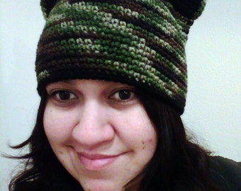 Kitty Cat-Hat-Beanie-Camouflage-All Sizes-Made to Order