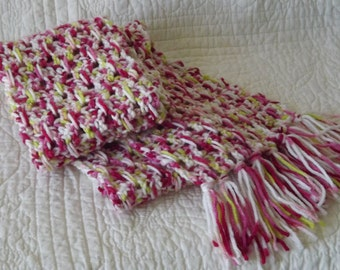 Crocheted Warm Winter Scarf in Shades of Pink, White and Lime Green