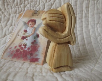 Hand Carved Miniature Personal Angel and Tag