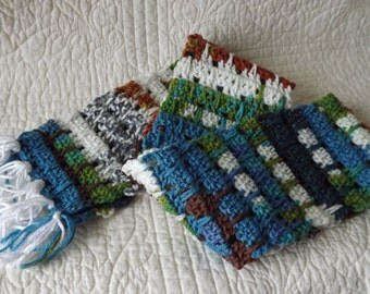 Multi Colored Crocheted Warm Winter Scarf Green Blue Brown Rust Gray White