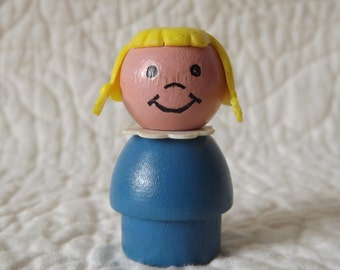 Vintage Fisher Price People - Wooden Girl With Braids