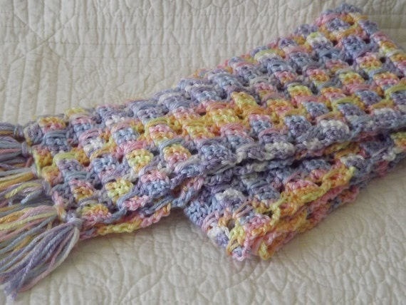 Crocheted Warm and EXTREMELY SOFT Winter Scarf in Pretty Shades of Pastel Colors
