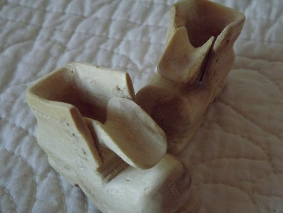 Hand Carved Miniature Wood Boots - Set of Two