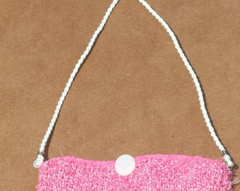 Hand-Knit Pink Purse with White Cord Strap