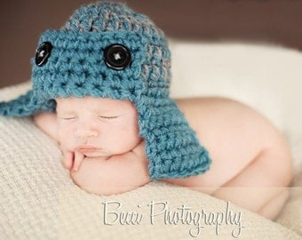 Aviator Pilot Hat Newborn Baby Photo prop in BLUE/GRAY Photography Hat Infant Girl Boy All Babies available more colors