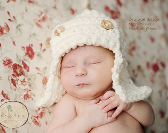 Aviator Flyer Hat, Baby Photo prop HAT in GRAY, Photo Shoot All Babies Hat, Pilot Flyer Hat, Gift Pilot Hat, Bomber Hat, Photo prop Baby Hat