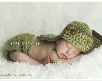 Aviator Hat and diaper cover Newborn Photo prop in PISTACHIO Photography Baby Set - 2pcs Photo shoot Infant girl boy Perfect  Gift Newborns