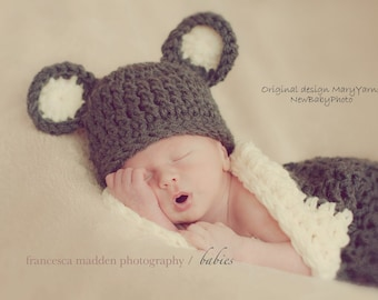 Cocoon and Bear Hat Newborn Photo prop in Charcoal Creamy or ANY COLOR  Photo Shoot Newborns all babies infant girl boy photo shoot