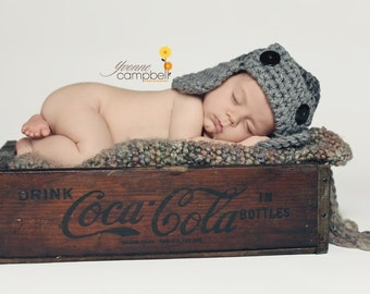 AVIATOR Flyer Beanie Hat Newborn Baby Photo prop in Gray Grey Photography Session Hat all babies Infant Girl Boy Photo Shoot