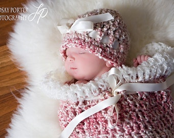 Newborns Photoprop in Swirl Pink Cocoon and Hat Photography Session all BABIES photo shoot 2pc Hat and Cocoon The Perfect Girl GIFT