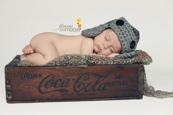 Flyer Hat Newborn Baby Photo prop in Gray Beanie Hat Newborn The Perfect GIFT all Babies Photography New Baby Infant Girl Boy Photo Shoot