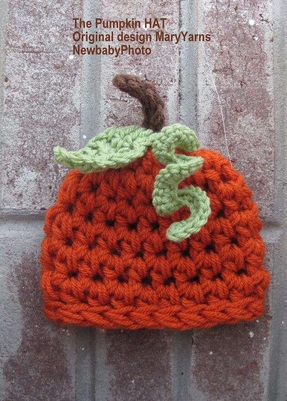Items similar to Hand Crochet Knit Pumpkin Beanie Hat ...