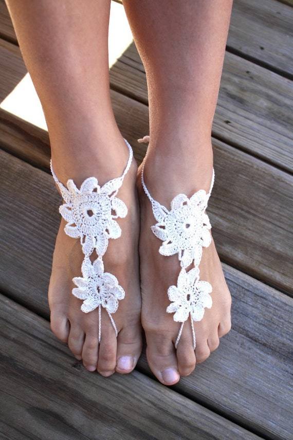 Crochet barefoot sandals, white nude shoes, wedding, sexy, yoga, bridesmaid, beach, pool