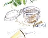 Kitchen art Pesto recipe 8X10 poster Basil Botanical Cooking Food print