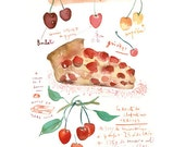 Kitchen art Cherry clafouti recipe French cake Watercolor 11X14 poster Food print Kitchen decor Bakery illustration Red summer fruit