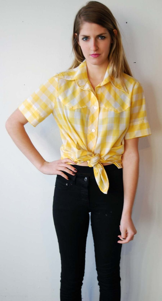 SALE vintage yellow gingham blouse