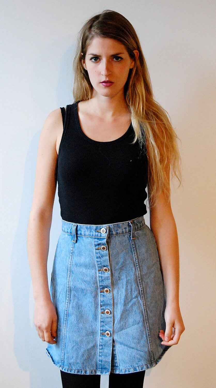 90s denim button up skirt