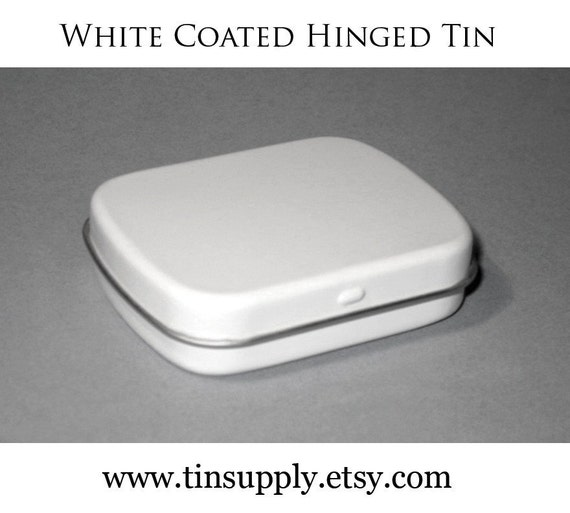 12 Hinged Metal Tins- Palm Size- White Coated