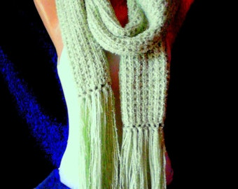CLEARANCE SALE! Hand Knit Lime Green Knit Scarf Neckwarmer Lightweight Soft Fringed Scarf  Women Men  Fashion Accessories Free Shipment