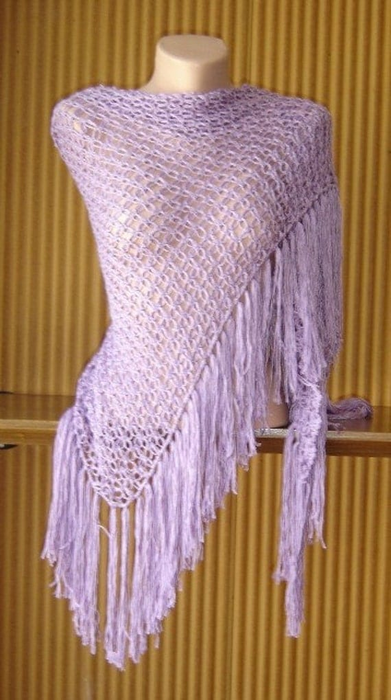 Crochet Lilac Shawl Scarf Shoulder Wrap Spring Summer Fall Winter Women Clothing Accessories