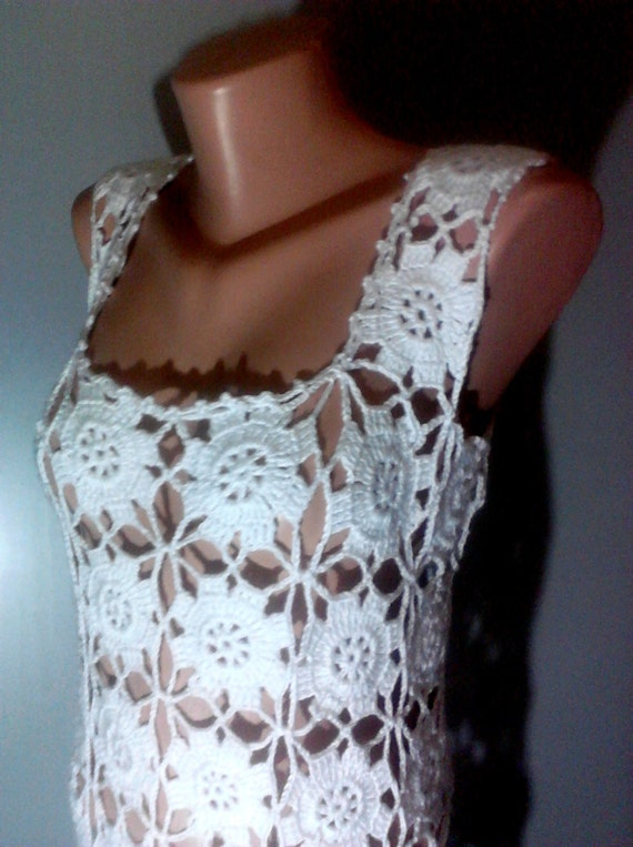 Hand Crochet White Dress Wedding Dress Summer Dress Women Fashion Clothing Bridal Dress