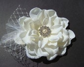 Bridal Ivory Hair Flower with rhinestone netting feathers pearl / Bridal ivory flower clip / Vintage glamour JOSEPHINE