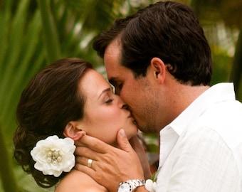 Bridal Rhinestone STARFISH and pearl ivory flower Hair clip / off white ivory flower hair clip / flower hair comb beach bride SEASIDE