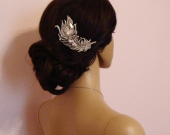 Rhinestone PEACOCK WEDDING Hair Comb or Brooch / crystal peacock feather bridal hair comb / silver rhinestone bridal peacock