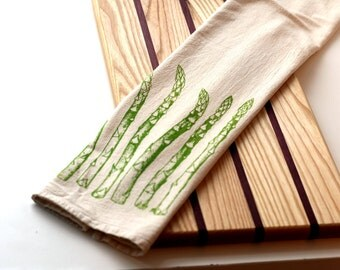 Deluxe Natural Flour Sack Towel - Asparagus - Hand Screen Printed Tea Towel