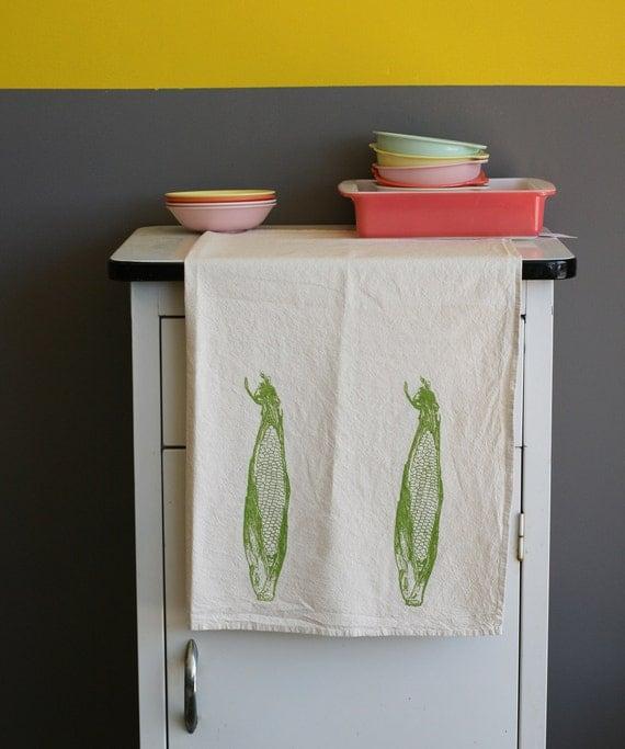 Natural Flour Sack Towel - Corn - Hand Screen Printed