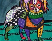 SALE ENDING- Papillon art dog  Art Print Poster by Heather Galler by heather galler (HG737)