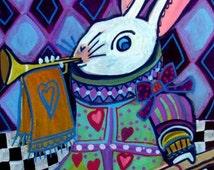 50% Off Code ACORN50 - Alice In Wonderland White Rabbit Art Art  Poster Print of  Painting  by Heather Galler