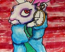 Alice In Wonderland, White Rabbit Art Art  Poster Print of  Painting  by Heather Galler