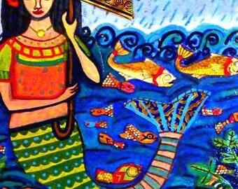 Mermaid Art Print Mexican Folk Art Poster Painting fish koi (HG619)