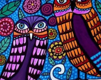 Kids Wall Art Owls Art Poster Print of painting by Heather Galler of Painting (HG543)