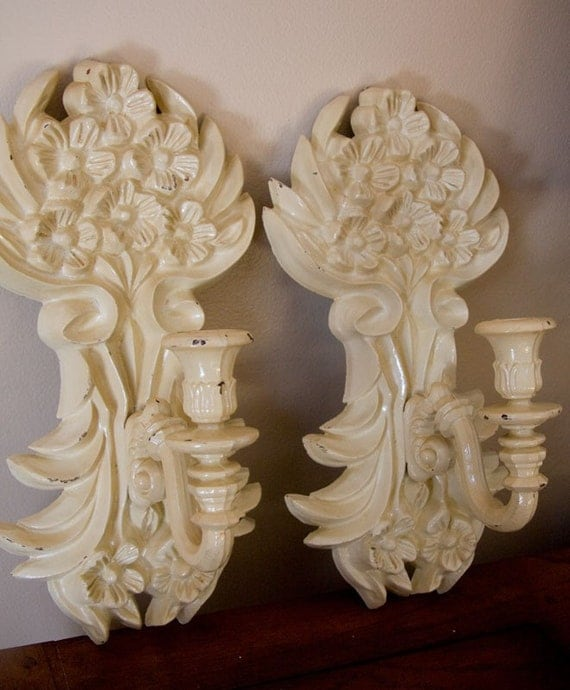 Candle Wall Sconces, Vintage Sconces, Art Nouveau, French Country Ivory Cream Home Decor