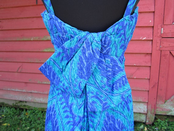 1970s 70s Maxi Dress Vintage Green Purple Summer Pleated Back Bow