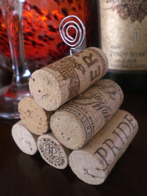 Wine Cork Pyramid Table Number Holder, Photo Holder or Menu Card Holder - Set of 2