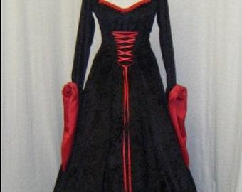 medieval dress, renaissance dress, vampire hooded dress, gothic dress, halloween dress, elven dress, custom made