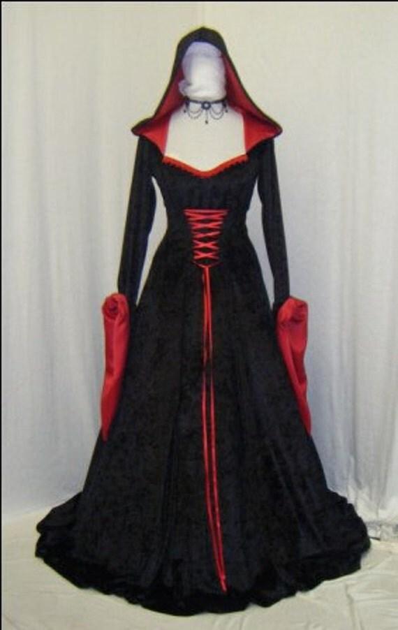 medieval renaissance vampire hooded gothic dress custom made